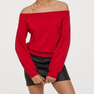 H&M Off the shoulder red sweatshirt size XS